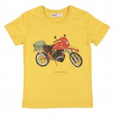 Wanex Футболка для мальчика горчичная с мотоциклом