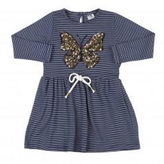 Wanex Платье с длинным рукавом для девочки синее в полоску с бабочкой