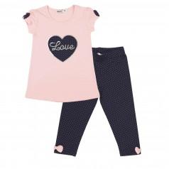 Wanex Комплект для девочки розовая туника с сердцем и темно-синие капри