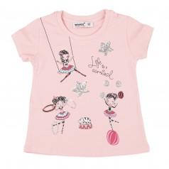 Wanex Футболка для девочки светло-розовая с девочками