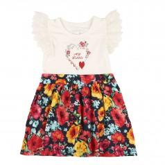 Breeze girls & boys Сарафан для девочки разноцветный с красными цветами и кружевами