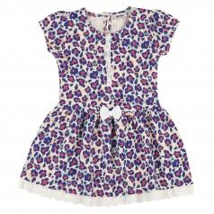 Wanex Платье для девочки с леопардовым принтом синее с бантиком
