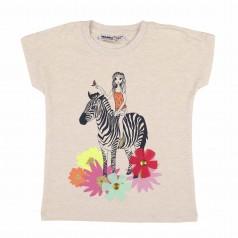Wanex Футболка для девочки бежевая с зеброй