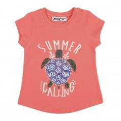 Wanex Футболка для девочки оранжевая с черепахой