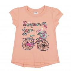 Wanex Футболка для девочки персиковая с велосипедом и бантиком