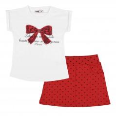Wanex Комплект для девочки белая футболка с красным бантом и красная юбка в горох
