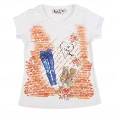 Wanex Футболка для девочки белая с джинсами и ботинками