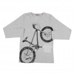 Wanex Футболка с длинным рукавом для мальчика серая с велосипедом