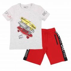 Wanex Комплект для мальчика серая футболка со скейтом и красные шорты