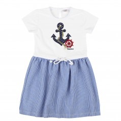 Wanex Платье для девочки c якорем бело-голубое