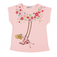 Wanex Футболка для девочки розовая с девочкой на качели