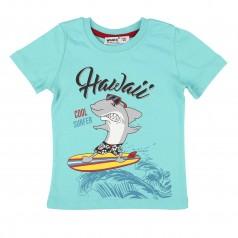 Wanex Футболка для мальчика голубая с акулой