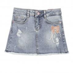 Wanex Юбка джинсовая для девочек с бантом