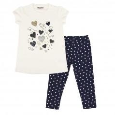 Wanex Комплект для девочки в сердечках белая футболка и синие капри