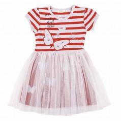 Breeze girls & boys Платье для девочки в серо-красную полоску и фатиновой юбкой