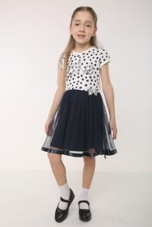 Breeze girls & boys Платье для девочки в горох с синей фатиновой юбкой