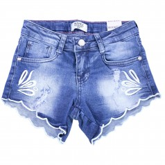 Wanex Шорты джинсовые для девочки синие с вышивкой