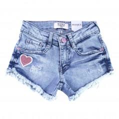 Wanex Шорты джинсовые для девочки голубые с сердечками