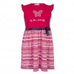 Wanex Платье для девочки красное с бабочкой
