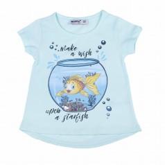Wanex Футболка голубая с рыбкой в аквариуме и пайетками