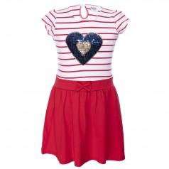 Wanex Платье для девочки в полоску красное с пайетками-перевёртышами в виде сердца