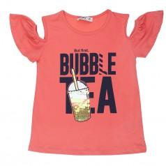 "Wanex Футболка для девочки оранжевая с пайетками ""Bubble tea"""