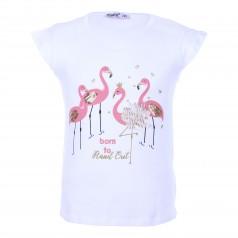 Wanex Футболка для девочки белая с фламинго