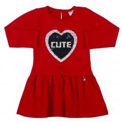 Wanex Платье с длинным рукавом красное пайетки-перевёртыши в виде сердца