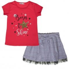 Wanex Комплект для девочки серая юбка и красная футболка со звездой