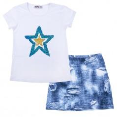 Комплект для девочки белая футболка со звездой с пайетками перевертышами и синяя юбка