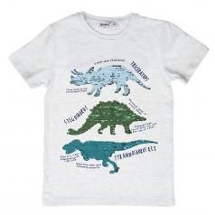 Wanex Футболка для мальчика серая с пайетками-перевёртышами в виде динозавров