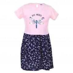 Wanex Платье для девочки розово-синее со стрекозой и цветами