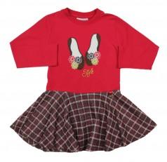 Wanex Платье красное с тапочками с длинным рукавом