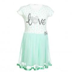 Breeze girls & boys Платье для девочки в горох с бирюзовой фатиновой  юбкой