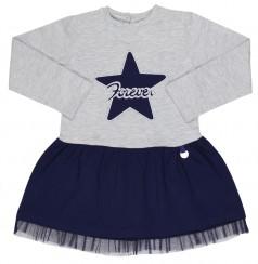 Платье с длинным рукавом для девочки серо-синее со звездой