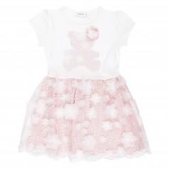 Breeze girls & boys Платье для девочки пудровое с мишкой