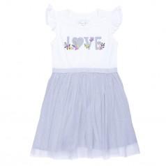 Breeze girls & boys Платье летнее бело-серое с фатиновой юбкой
