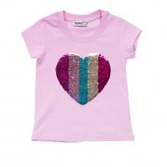 Wanex Футболка для девочки розовая с пайетками-перевёртышами в виде сердца