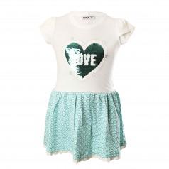 Wanex Платье для девочки бело-бирюзовое с сердцем и пайетками-перевёртышами