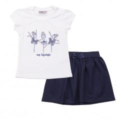 Wanex Комплект для девочки с балеринами серая юбка и белая футболка
