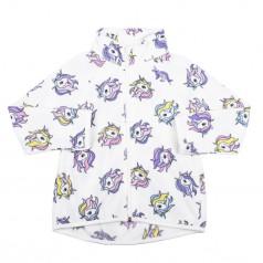 H&M Детская кофта для девочки флисовая белая с единорогами