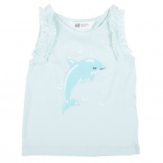 H&M Майка голубая с дельфином
