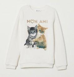 H&M Свитер меховушка для девочки молочный Mon Ami с котятами