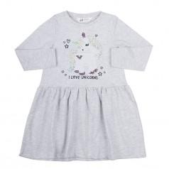 H&M Платье серое с единорогом в пайетках