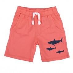 Шорты для мальчика коралловые с акулами