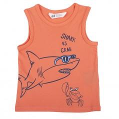 Майка для мальчика коралловая с акулой