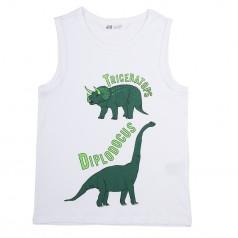 Майка для мальчика белая с динозаврами