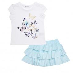 H&M Комплект для девочки из белой футболки с бабочками и голубой юбки