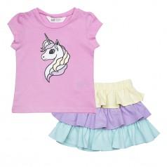H&M Комплект для девочки из розовой футболки с единорогом и разноцветной юбки