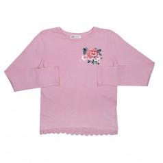 H&M Футболка с длинным рукавом для девочки розовая с цветочками